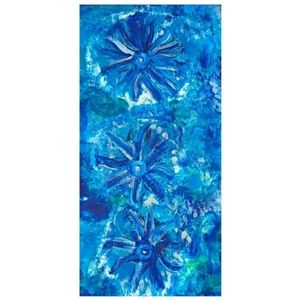 Blue and White Abstract Design Canvas Picture